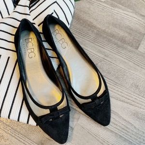 BCBG SUEDE FLAT BOW Blue and Black